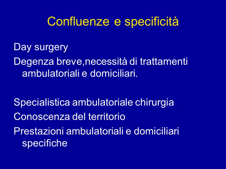 Confluenze e specificità Day surgery Degenza breve,necessità di trattamenti ambulatoriali e domiciliari. Specialistica ambulatoriale chirurgia Conosce