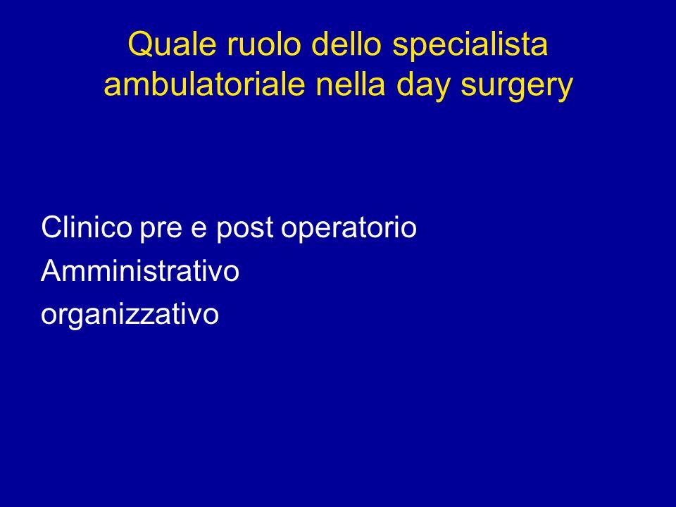 Quale ruolo dello specialista ambulatoriale nella day surgery Clinico pre e post operatorio Amministrativo organizzativo
