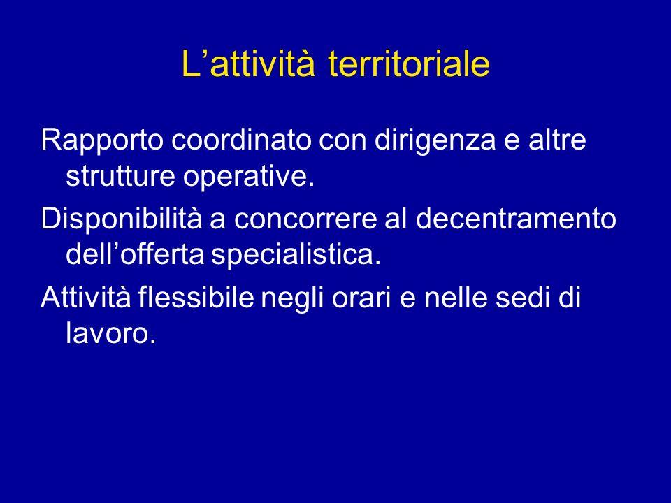 Lattività territoriale Rapporto coordinato con dirigenza e altre strutture operative. Disponibilità a concorrere al decentramento dellofferta speciali