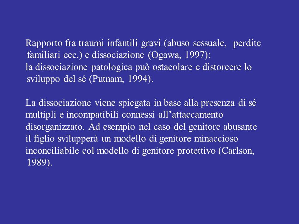 Rapporto fra traumi infantili gravi (abuso sessuale, perdite familiari ecc.) e dissociazione (Ogawa, 1997): la dissociazione patologica può ostacolare