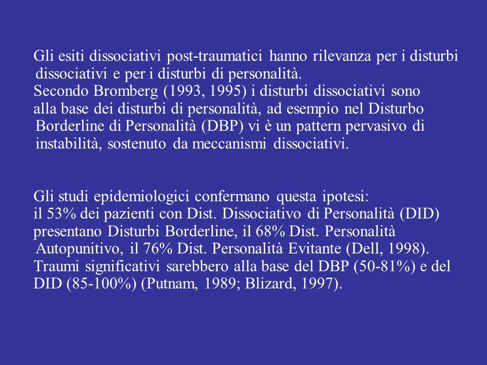 Gli esiti dissociativi post-traumatici hanno rilevanza per i disturbi dissociativi e per i disturbi di personalità. Secondo Bromberg (1993, 1995) i di