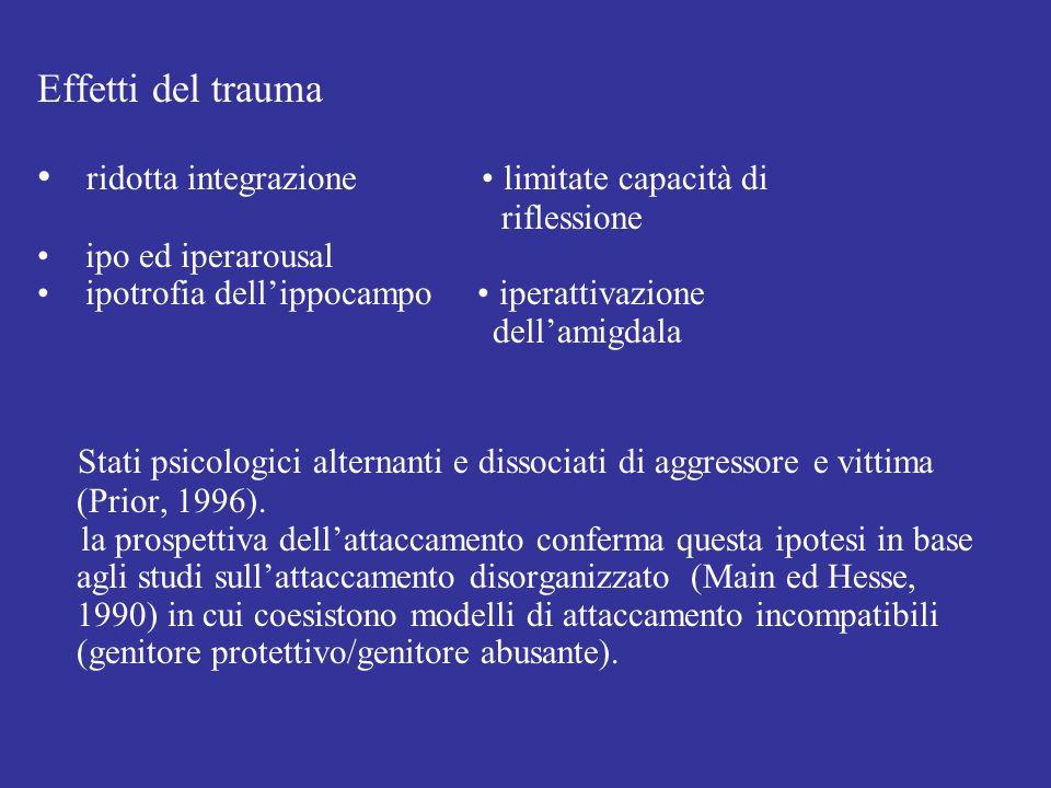 Effetti del trauma ridotta integrazione limitate capacità di riflessione ipo ed iperarousal ipotrofia dellippocampo iperattivazione dellamigdala Stati