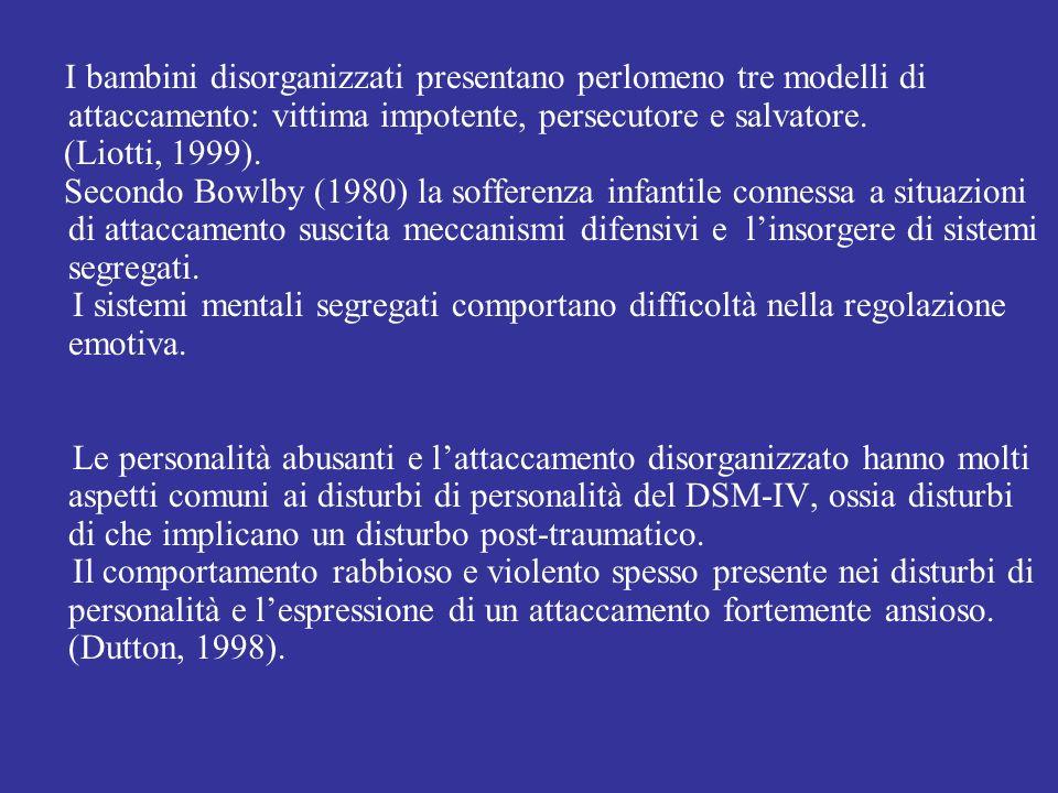 I bambini disorganizzati presentano perlomeno tre modelli di attaccamento: vittima impotente, persecutore e salvatore. (Liotti, 1999). Secondo Bowlby