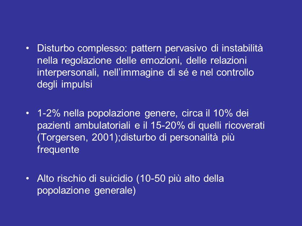 Disturbo complesso: pattern pervasivo di instabilità nella regolazione delle emozioni, delle relazioni interpersonali, nellimmagine di sé e nel contro