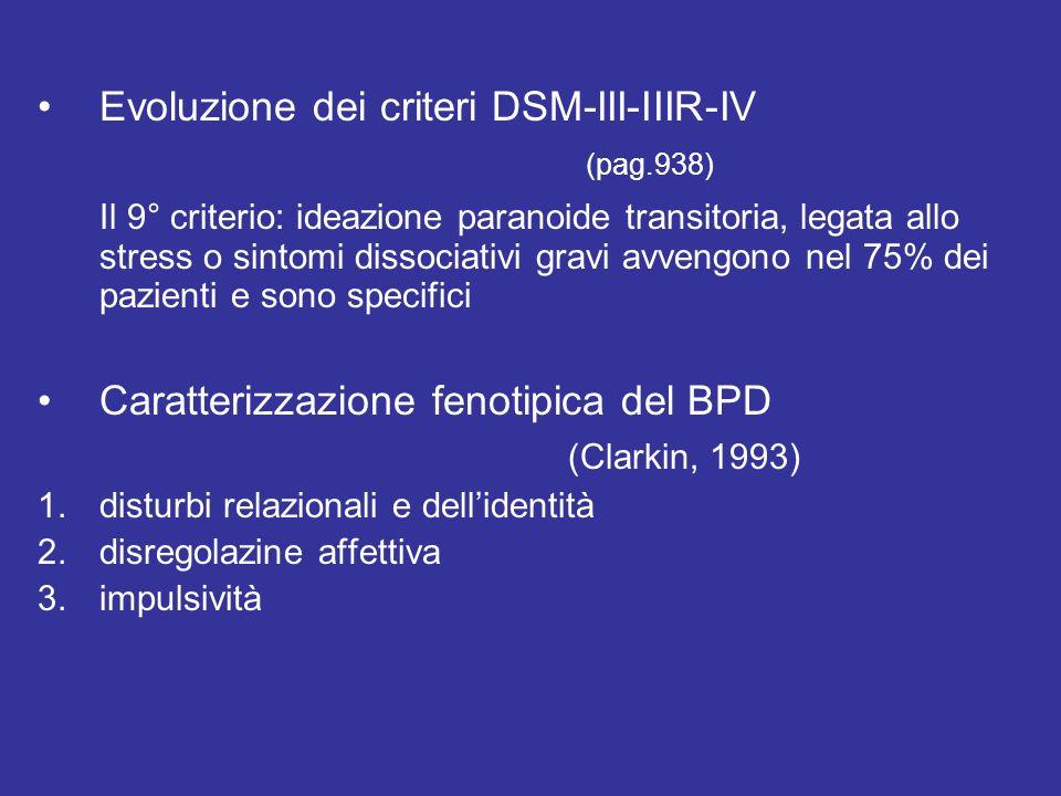 Evoluzione dei criteri DSM-III-IIIR-IV (pag.938) Il 9° criterio: ideazione paranoide transitoria, legata allo stress o sintomi dissociativi gravi avve