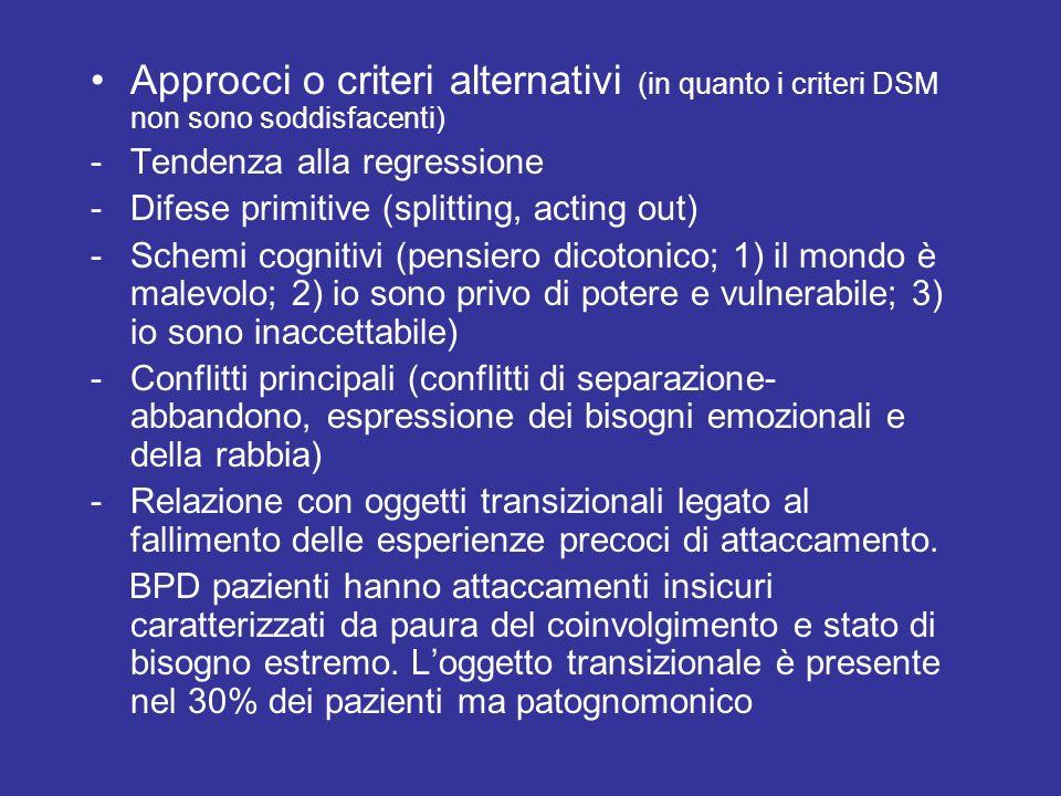 Approcci o criteri alternativi (in quanto i criteri DSM non sono soddisfacenti) -Tendenza alla regressione -Difese primitive (splitting, acting out) -