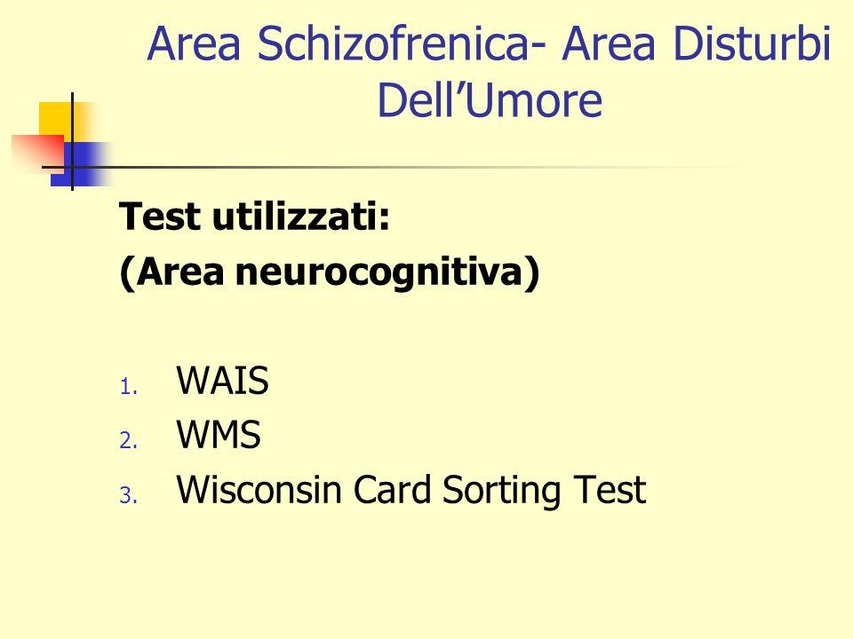 Area Schizofrenica- Area Disturbi DellUmore Test utilizzati: (Area neurocognitiva) 1. WAIS 2. WMS 3. Wisconsin Card Sorting Test