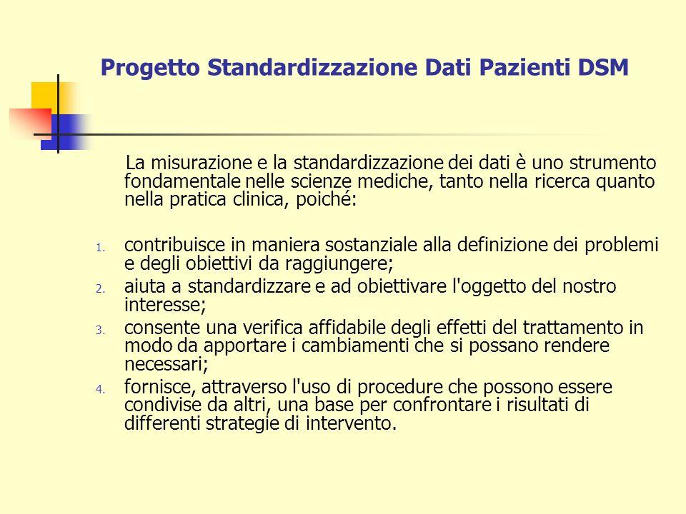Progetto Standardizzazione Dati Pazienti DSM La misurazione e la standardizzazione dei dati è uno strumento fondamentale nelle scienze mediche, tanto
