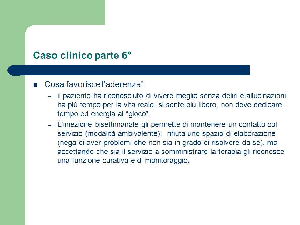 Caso clinico parte 5° Cosa non favorisce laderenza (Attualmente assume 25 mg. /bisettimanali di risperidone): – Sedazione: iniziale, è gradualmente an