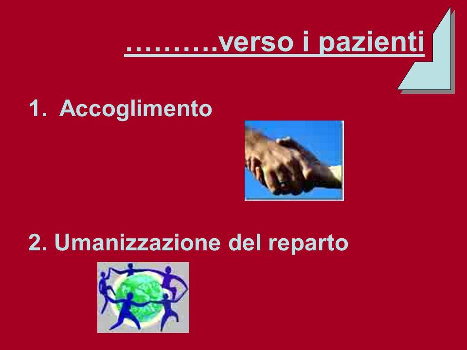 ……….verso i pazienti 1.Accoglimento 2. Umanizzazione del reparto
