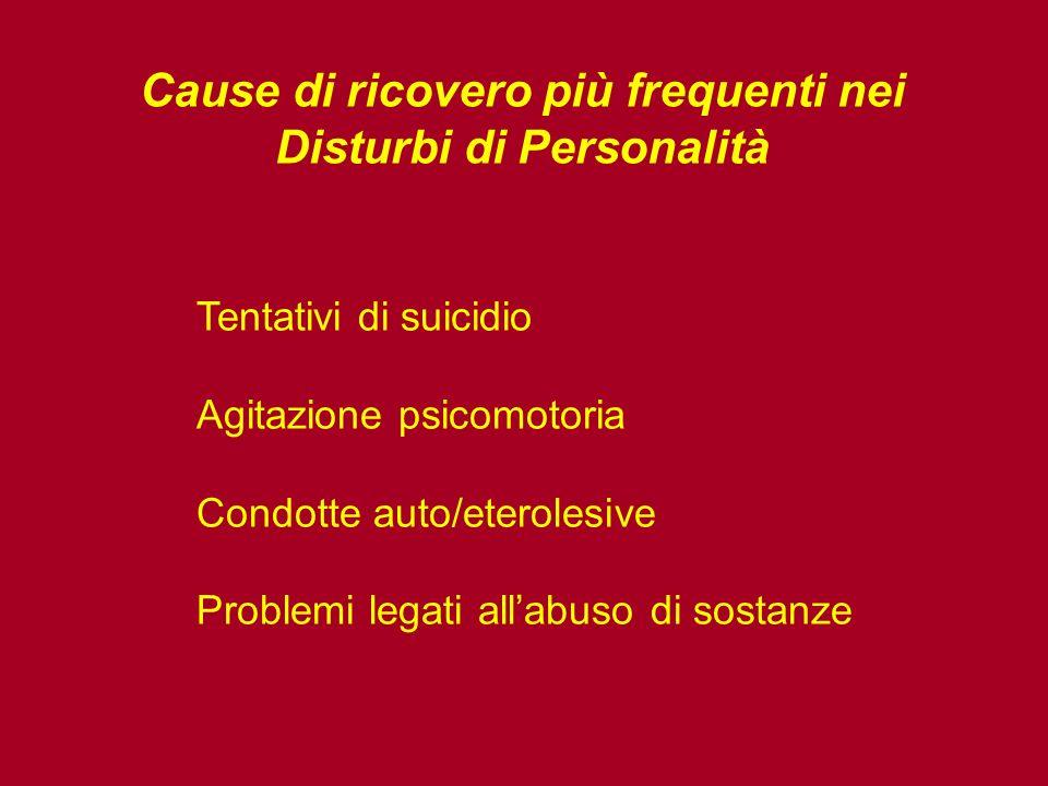 Cause di ricovero più frequenti nei Disturbi di Personalità Tentativi di suicidio Agitazione psicomotoria Condotte auto/eterolesive Problemi legati allabuso di sostanze