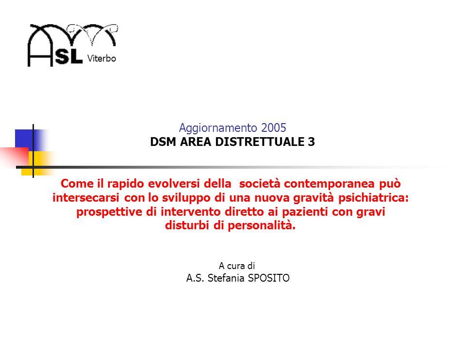 Viterbo Aggiornamento 2005 DSM AREA DISTRETTUALE 3 Come il rapido evolversi della società contemporanea può intersecarsi con lo sviluppo di una nuova