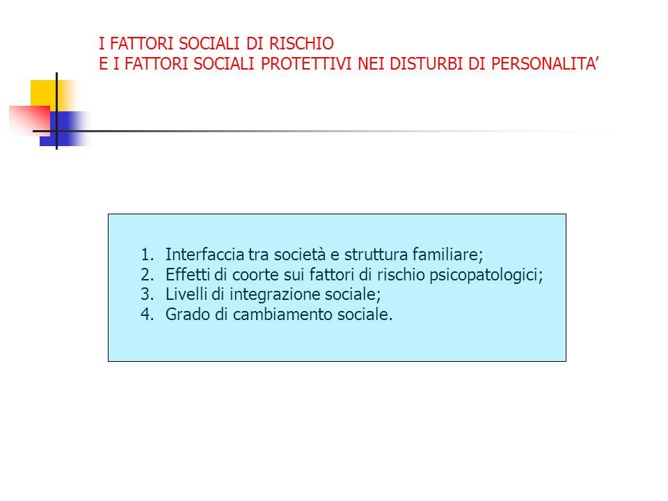 I FATTORI SOCIALI DI RISCHIO E I FATTORI SOCIALI PROTETTIVI NEI DISTURBI DI PERSONALITA 1.Interfaccia tra società e struttura familiare; 2.Effetti di