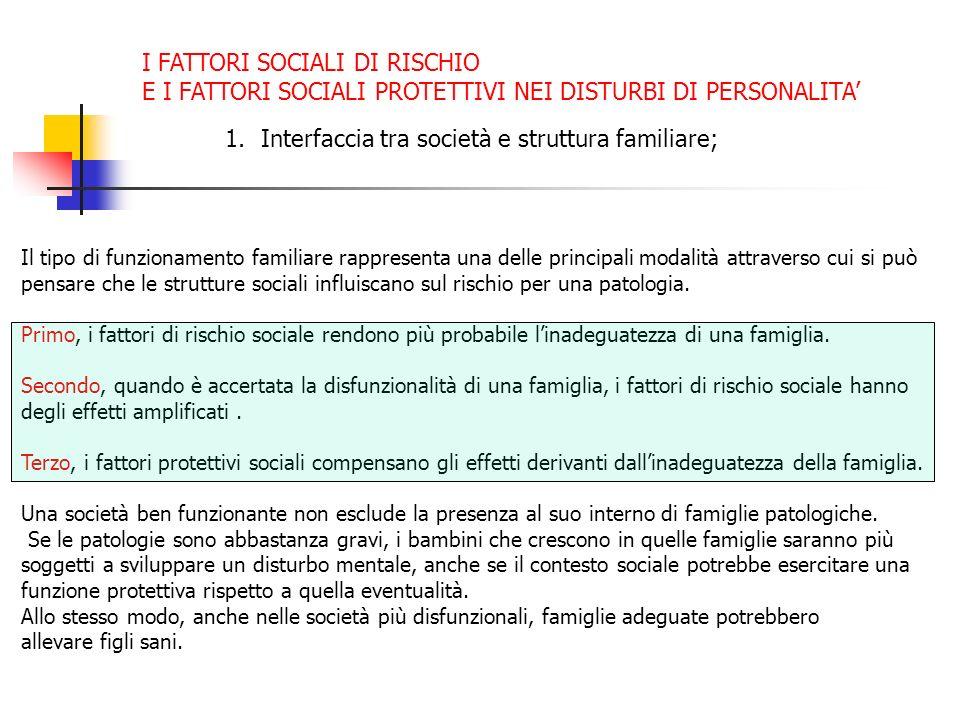 1.Interfaccia tra società e struttura familiare; Il tipo di funzionamento familiare rappresenta una delle principali modalità attraverso cui si può pe