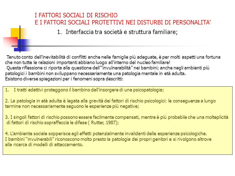 1.Interfaccia tra società e struttura familiare; Tenuto conto dellinevitabilità di conflitti anche nelle famiglie più adeguate, è per molti aspetti un