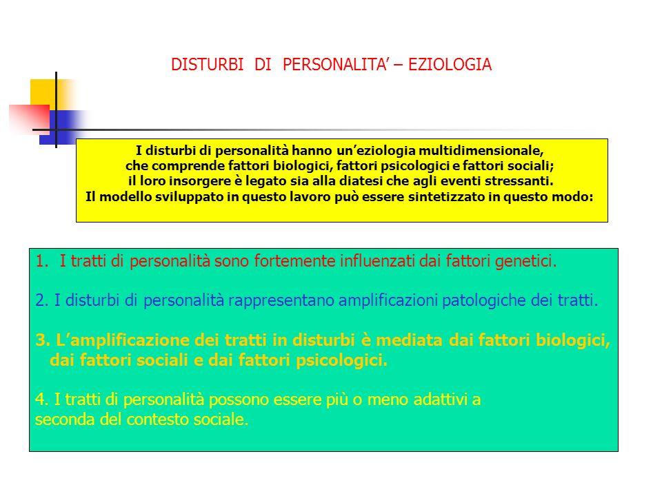 DISTURBI DI PERSONALITA – EZIOLOGIA I disturbi di personalità hanno uneziologia multidimensionale, che comprende fattori biologici, fattori psicologic