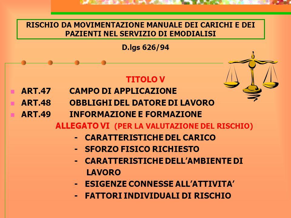 D.lgs 626/94 TITOLO V ART.47 CAMPO DI APPLICAZIONE ART.48 OBBLIGHI DEL DATORE DI LAVORO ART.49 INFORMAZIONE E FORMAZIONE ALLEGATO VI (PER LA VALUTAZIO