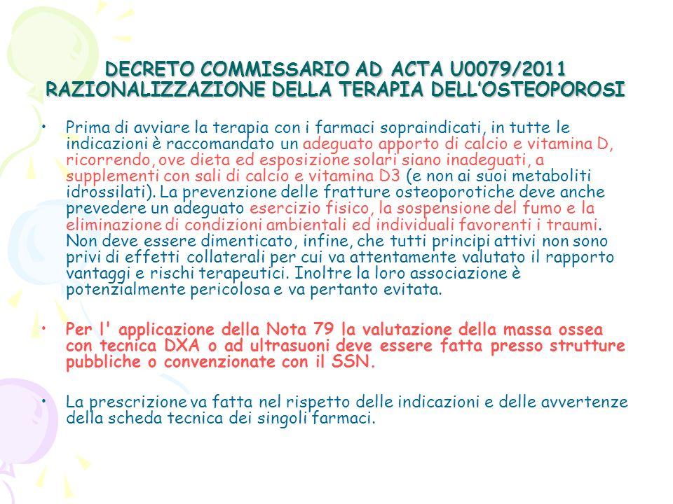 DECRETO COMMISSARIO AD ACTA U0079/2011 RAZIONALIZZAZIONE DELLA TERAPIA DELLOSTEOPOROSI Prima di avviare la terapia con i farmaci sopraindicati, in tut