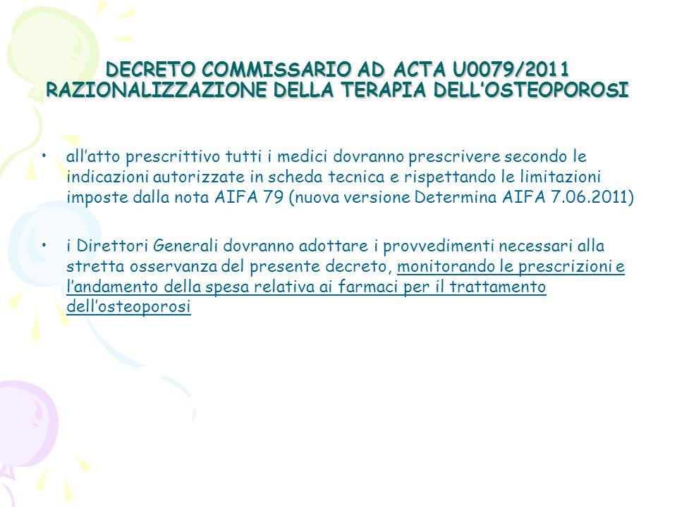 DECRETO COMMISSARIO AD ACTA U0079/2011 RAZIONALIZZAZIONE DELLA TERAPIA DELLOSTEOPOROSI NUOVA NOTA 79 (Determina AIFA 7.06.2011 G.U.