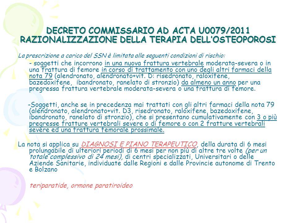 DECRETO COMMISSARIO AD ACTA U0079/2011 RAZIONALIZZAZIONE DELLA TERAPIA DELLOSTEOPOROSI La prescrizione a carico del SSN è limitata alle seguenti condizioni di rischio: - soggetti di età superiore a 50 anni in trattamento da più di 12 mesi con dosi > 5 mg/die di prednisone o dosi equivalenti di altri corticosteroidi e che si presentano con una frattura vertebrale severa o due fratture vertebrali moderate.