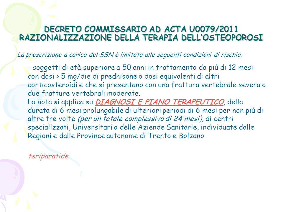 DECRETO COMMISSARIO AD ACTA U0079/2011 RAZIONALIZZAZIONE DELLA TERAPIA DELLOSTEOPOROSI STRUTTURE SANITARIE AUTORIZZATE DEI P.T.