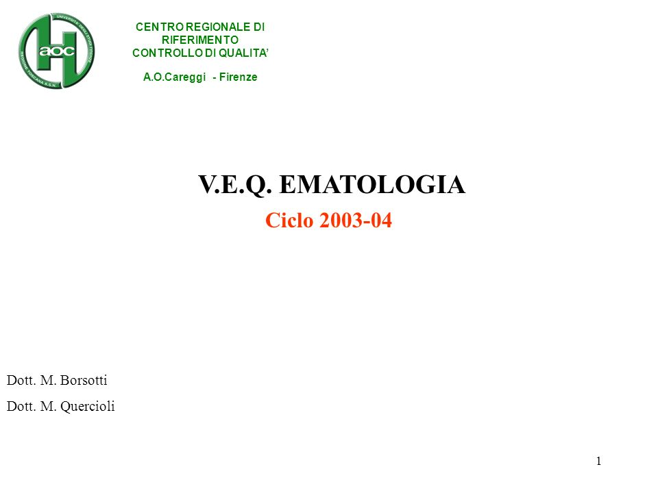 1 Ciclo 2003-04 CENTRO REGIONALE DI RIFERIMENTO CONTROLLO DI QUALITA A.O.Careggi - Firenze Dott.