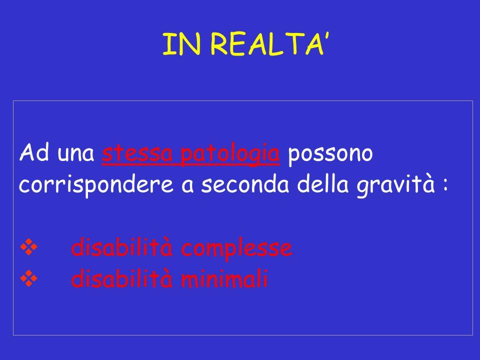 Ad una stessa patologia possono corrispondere a seconda della gravità : disabilità complesse disabilità minimali IN REALTA