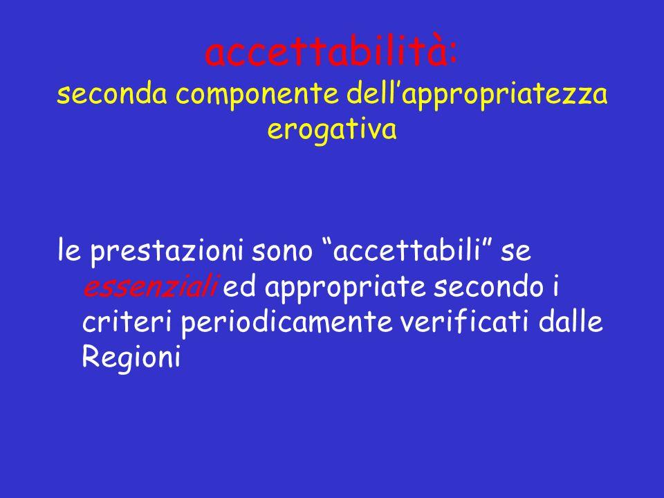 accettabilità: seconda componente dellappropriatezza erogativa le prestazioni sono accettabili se essenziali ed appropriate secondo i criteri periodicamente verificati dalle Regioni