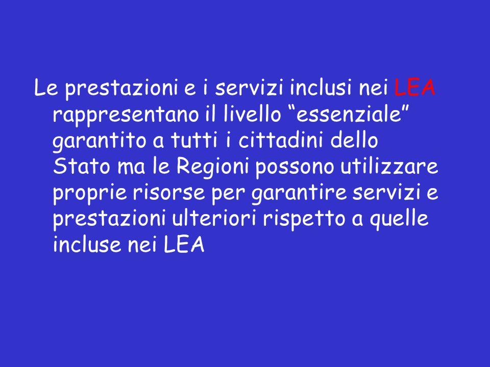 Le prestazioni e i servizi inclusi nei LEA rappresentano il livello essenziale garantito a tutti i cittadini dello Stato ma le Regioni possono utilizzare proprie risorse per garantire servizi e prestazioni ulteriori rispetto a quelle incluse nei LEA