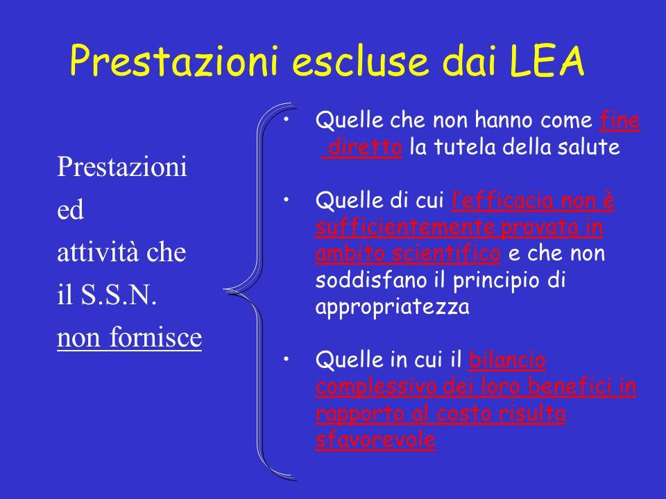 Prestazioni escluse dai LEA Prestazioni ed attività che il S.S.N.