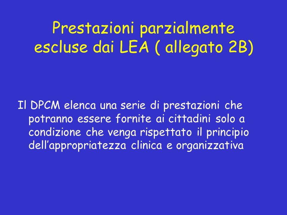 Prestazioni parzialmente escluse dai LEA ( allegato 2B) Il DPCM elenca una serie di prestazioni che potranno essere fornite ai cittadini solo a condizione che venga rispettato il principio dellappropriatezza clinica e organizzativa
