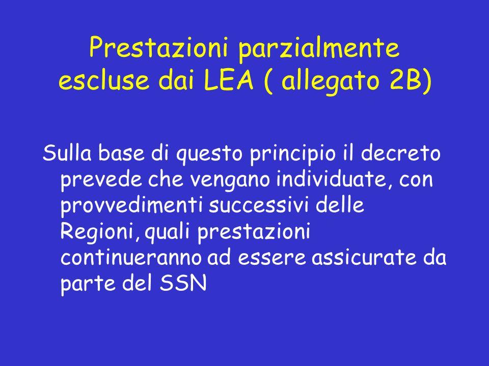 Prestazioni parzialmente escluse dai LEA ( allegato 2B) Sulla base di questo principio il decreto prevede che vengano individuate, con provvedimenti successivi delle Regioni, quali prestazioni continueranno ad essere assicurate da parte del SSN