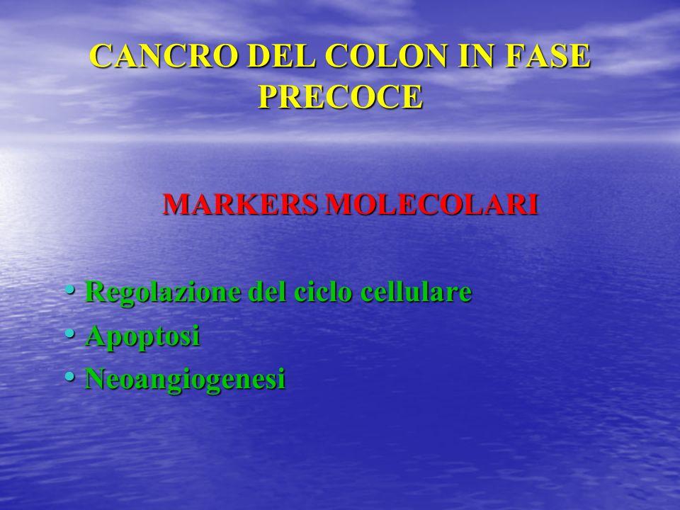 CANCRO DEL COLON IN FASE PRECOCE MARKERS MOLECOLARI Regolazione del ciclo cellulare Regolazione del ciclo cellulare Apoptosi Apoptosi Neoangiogenesi N