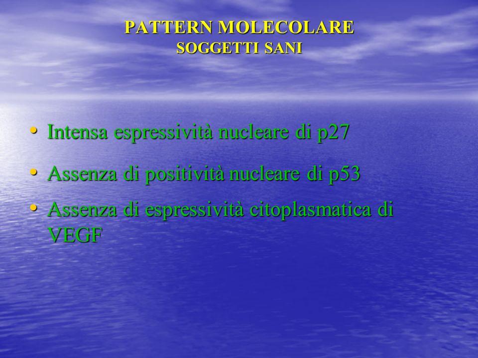 PATTERN MOLECOLARE SOGGETTI SANI Intensa espressività nucleare di p27 Intensa espressività nucleare di p27 Assenza di positività nucleare di p53 Assen