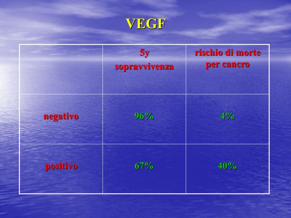 VEGF 5ysopravvivenza negativo96%4% positivo67%40%