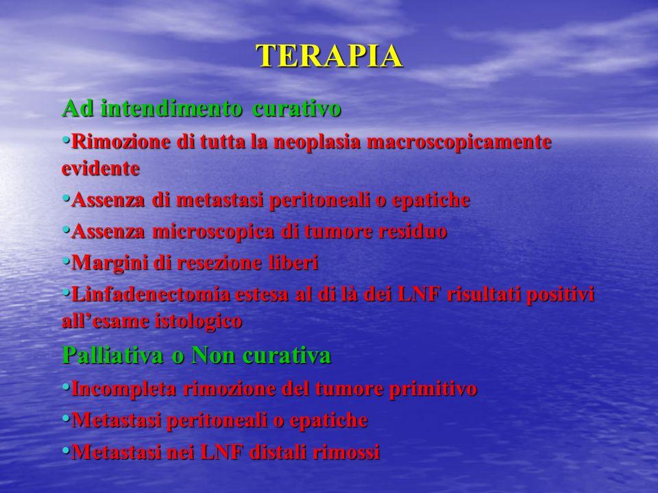 TERAPIA Ad intendimento curativo Rimozione di tutta la neoplasia macroscopicamente evidente Rimozione di tutta la neoplasia macroscopicamente evidente