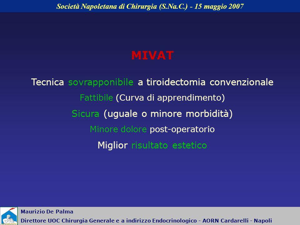 MIVAT Tecnica sovrapponibile a tiroidectomia convenzionale Fattibile (Curva di apprendimento) Sicura (uguale o minore morbidità) Minore dolore post-op
