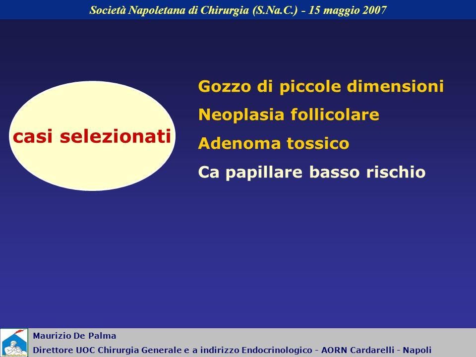Gozzo di piccole dimensioni Neoplasia follicolare Adenoma tossico Ca papillare basso rischio casi selezionati Nodulo singolo o piccolo gozzo (tossico,