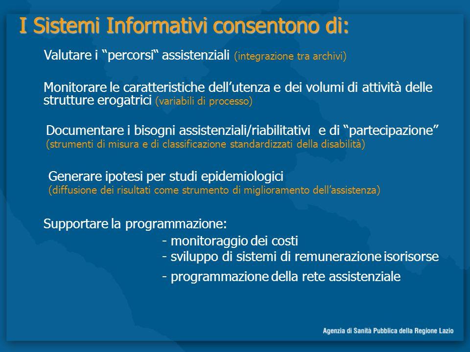 I Sistemi Informativi consentono di: Supportare la programmazione: - programmazione della rete assistenziale Monitorare le caratteristiche dellutenza