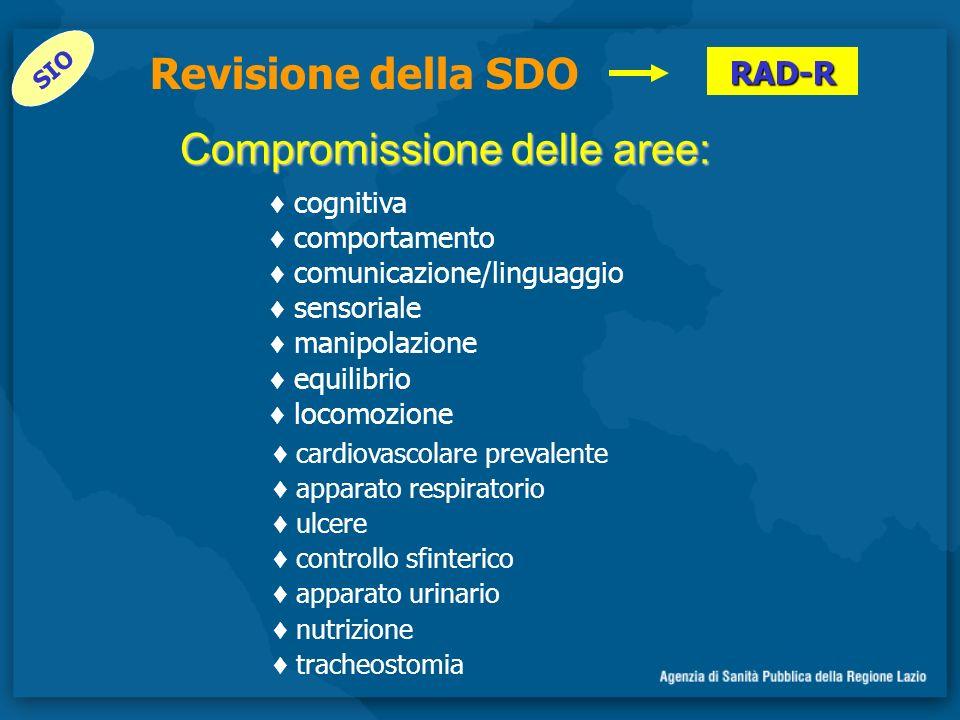 Compromissione delle aree: SIO RAD-R Revisione della SDO cognitiva comportamento comunicazione/linguaggio sensoriale manipolazione equilibrio locomozi