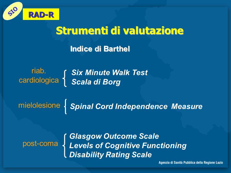 Strumenti di valutazione Six Minute Walk Test Scala di Borg post-coma mielolesione riab. cardiologica Glasgow Outcome Scale Levels of Cognitive Functi