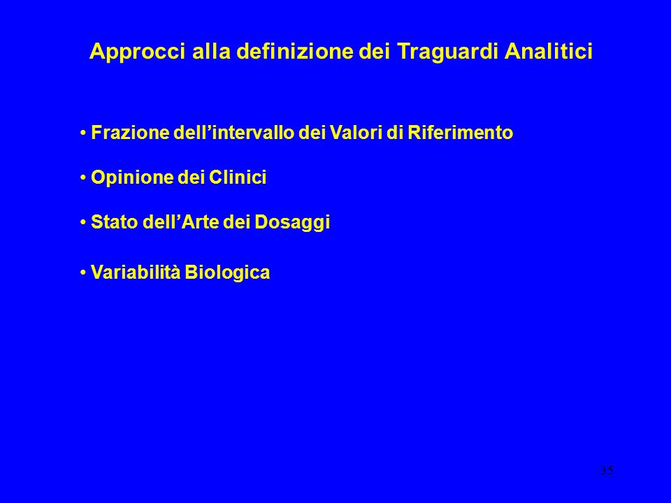 35 Approcci alla definizione dei Traguardi Analitici Frazione dellintervallo dei Valori di Riferimento Opinione dei Clinici Stato dellArte dei Dosaggi