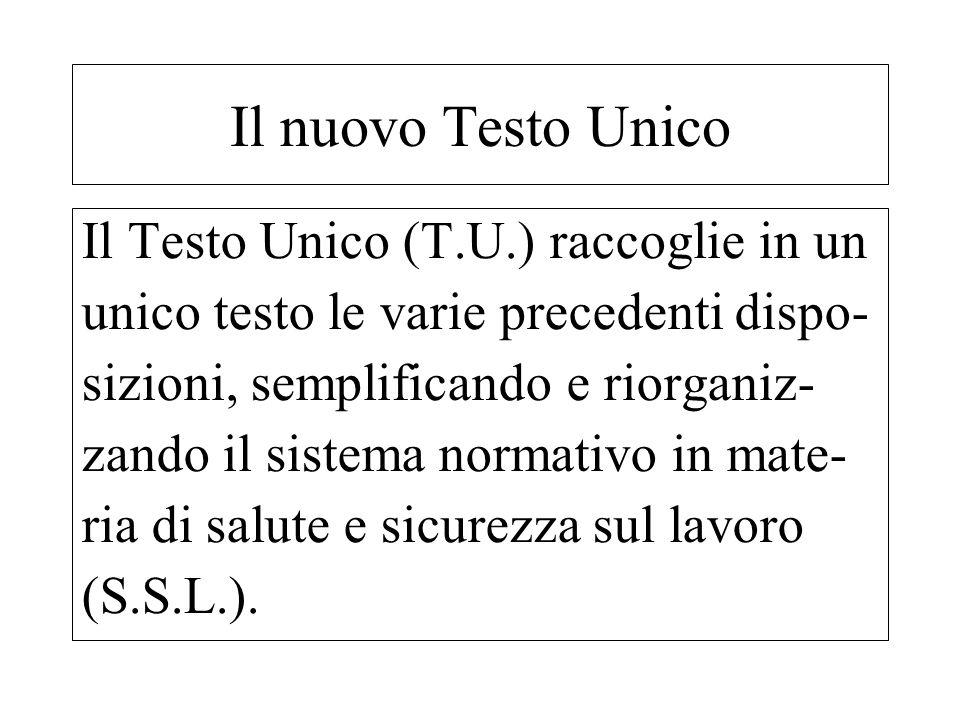 Il Testo Unico (T.U.) raccoglie in un unico testo le varie precedenti dispo- sizioni, semplificando e riorganiz- zando il sistema normativo in mate- r