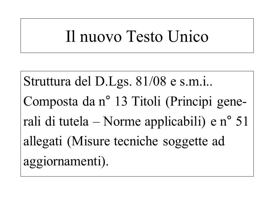 Struttura del D.Lgs. 81/08 e s.m.i.. Composta da n° 13 Titoli (Principi gene- rali di tutela – Norme applicabili) e n° 51 allegati (Misure tecniche so