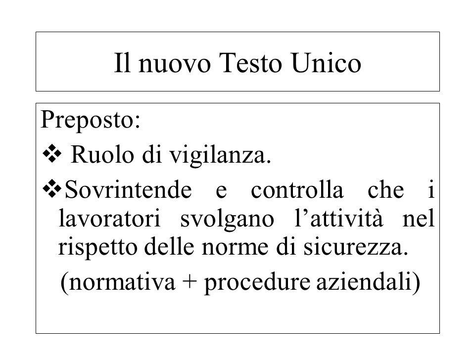 Preposto: Ruolo di vigilanza. Sovrintende e controlla che i lavoratori svolgano lattività nel rispetto delle norme di sicurezza. (normativa + procedur