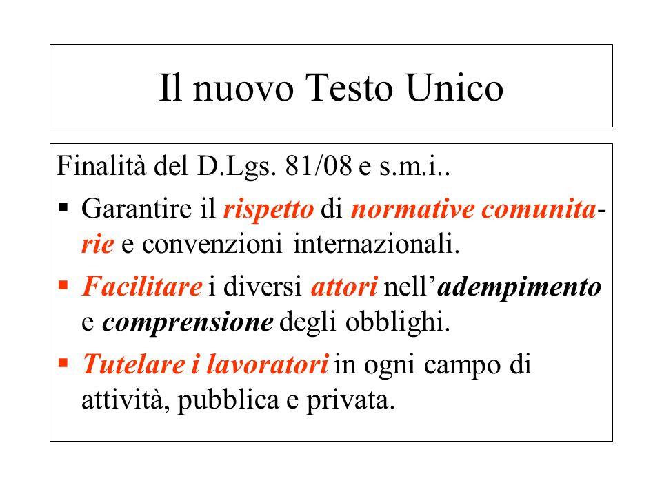 Finalità del D.Lgs. 81/08 e s.m.i.. Garantire il rispetto di normative comunita- rie e convenzioni internazionali. Facilitare i diversi attori nellade