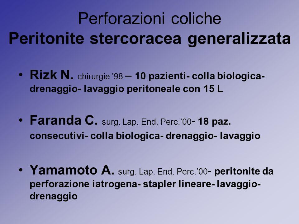 Perforazioni coliche Peritonite stercoracea generalizzata Rizk N. chirurgie 98 – 10 pazienti- colla biologica- drenaggio- lavaggio peritoneale con 15