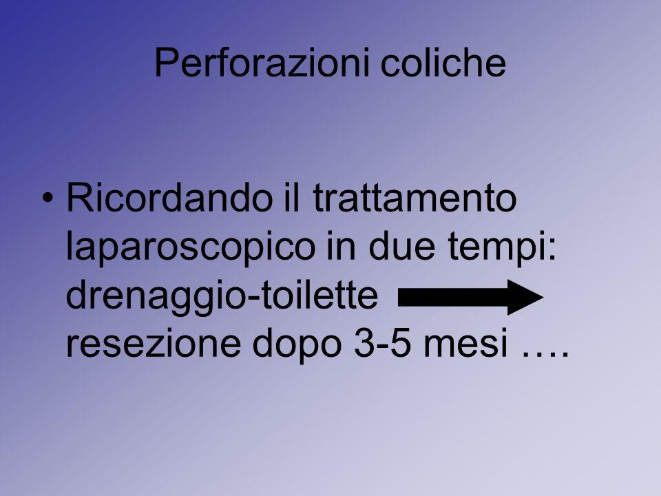 Perforazioni coliche Ricordando il trattamento laparoscopico in due tempi: drenaggio-toilette resezione dopo 3-5 mesi ….