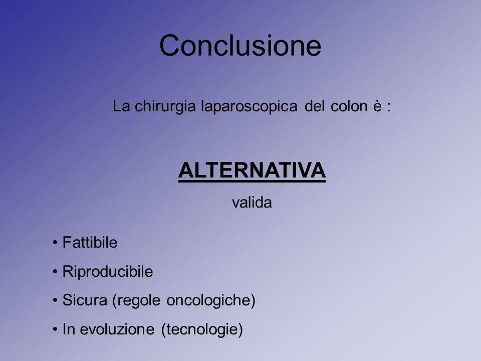 Conclusione La chirurgia laparoscopica del colon è : ALTERNATIVA valida Fattibile Riproducibile Sicura (regole oncologiche) In evoluzione (tecnologie)