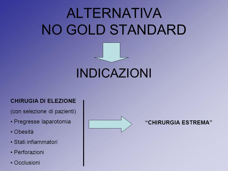 ALTERNATIVA NO GOLD STANDARD INDICAZIONI CHIRUGIA DI ELEZIONE (con selezione di pazienti) Pregresse laparotomia Obesità Stati infiammatori Perforazion